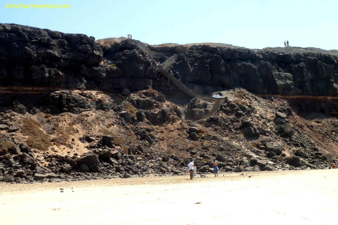 Playa de la Escalera en Fuerteventura. Playa del Aguila. Aguila Strand